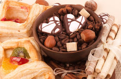 Coffee beans and cinnamon, nuts, sweetness Stock Photo