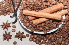 Coffee beans with cinnamon Stock Photography