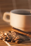 Coffee beans and cinnamon with smoke Royalty Free Stock Image