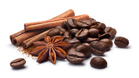 Coffee beans with cinnamon and star anise, paths Royalty Free Stock Photography