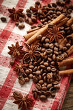Coffee beans, cinnamon and star anise Stock Images