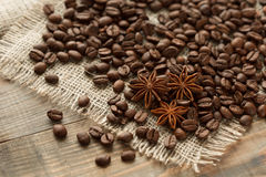 Coffee beans, and cinnamon star anise Royalty Free Stock Images