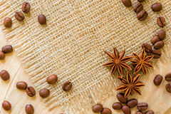 Coffee beans, and cinnamon star anise Royalty Free Stock Photography