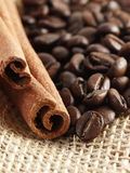 Coffee beans and cinnamon stick Stock Photo