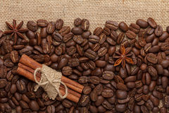 Coffee beans with cinnamon stock photo