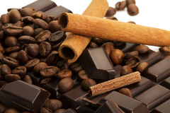 Coffee beans and cinnamon sticks on chocolate bar Stock Images