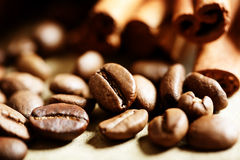 Coffee beans with cinnamon sticks Stock Images