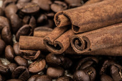 Coffee beans with cinnamon sticks on sack textile. An image of coffee beans with cinnamon sticks on sack textile royalty free stock image