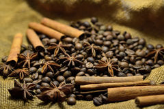 Coffee beans, cinnamon sticks and star anise. Coffee beans, cinnamon sticks, star anise on the background of old sacking Stock Photo