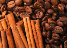 Coffee beans and cinnamon sticks Stock Images