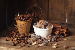 Coffee beans, cinnamon and suga Royalty Free Stock Photo
