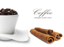 Coffee beans and cinnamon Royalty Free Stock Image