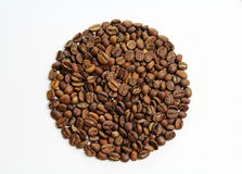 Coffee beans circle. Circle from coffee beans on isolated white background Stock Photos