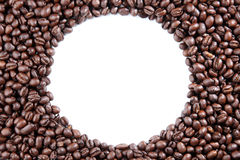 Coffee Beans circle on white background Stock Image