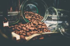 Coffee Beans In Clear Glasses Royalty Free Stock Images