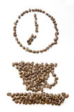 Coffee beans clock at 7 Royalty Free Stock Images
