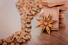 Coffee beans close up and chocolate Stock Image