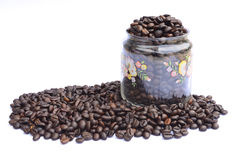 Coffee beans close-up in jar Stock Photography