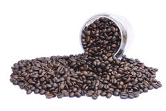 Coffee beans close-up in jar Stock Images