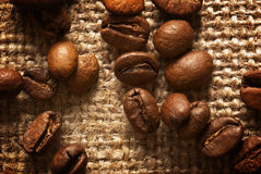 Coffee beans. Close up of roasted coffee beans on linen bag Royalty Free Stock Photos