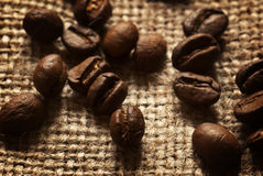 Coffee beans. Close up of roasted coffee beans on linen bag Stock Image