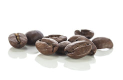 Coffee beans close up on white Royalty Free Stock Photo