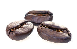 Coffee beans closeup. Closeup of three coffee beans, isolated on white background Royalty Free Stock Photo