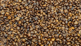 Coffee beans closeup background. Top view Royalty Free Stock Photo