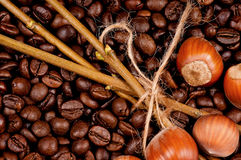 Coffee beans. Closeup of coffee beans and filberts - top view Stock Images