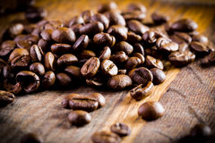 Coffee beans. Closeup of coffee beans with focus on one Royalty Free Stock Photography