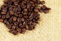 Coffee beans. Closeup of coffee beans on sacking Royalty Free Stock Images