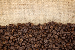 Coffee beans. Closeup of coffee beans on sacking Royalty Free Stock Photo