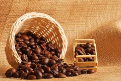 The coffee beans on the cloth sack. Coffee beans on the cloth sack Stock Images