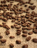 Coffee beans. Coffe beans on burlap background Royalty Free Stock Images