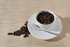 Coffee  beans. Coffee Background. A cup of coffee and beans Background Stock Photography