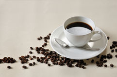 Coffee  beans. Coffee Background. A cup of coffee and beans Background Royalty Free Stock Photography