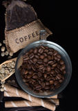 Coffee beans with coffee bag Stock Images