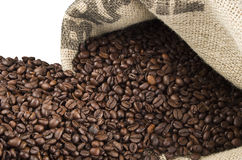 Coffee beans in coffee bag Royalty Free Stock Photography