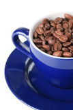 Coffee beans and coffee cup. On white background Royalty Free Stock Images