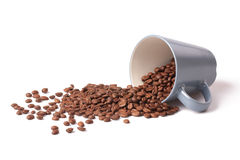 Coffee beans and coffee cup. On white background Stock Photography