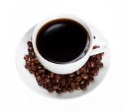 Coffee beans and coffee cup Stock Photography