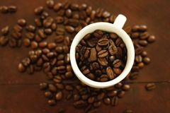 Coffee beans in a coffee cup Stock Photography