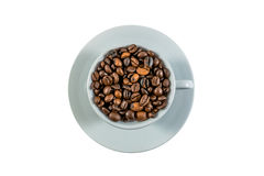 Coffee beans and coffee cup.  Stock Image