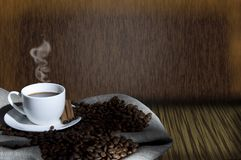 Coffee beans and coffee cup, collage Stock Images