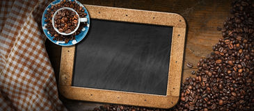 Coffee Beans - Coffee Cup - Empty Blackboard Royalty Free Stock Photo