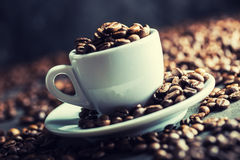 Coffee beans. Coffee cup full of coffee beans. Toned image.  Royalty Free Stock Photos