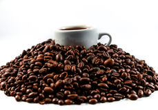 Coffee beans and coffee cup. Isolated on a white background Stock Image