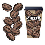 Coffee Beans and Coffee  Cup with Lid Royalty Free Stock Photo