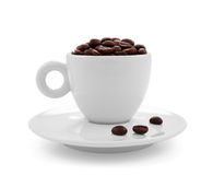 Coffee beans in coffee cup  on white Royalty Free Stock Image