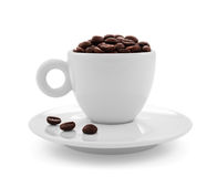 Coffee beans in coffee cup  on white Stock Photo